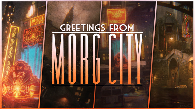Welcome to Morg City postcard by Samuwhale