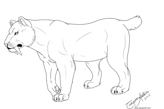 Female Sabertooth Short Tail Template by Myuui