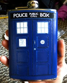 Tardis Flask by Whyamithewerewolf