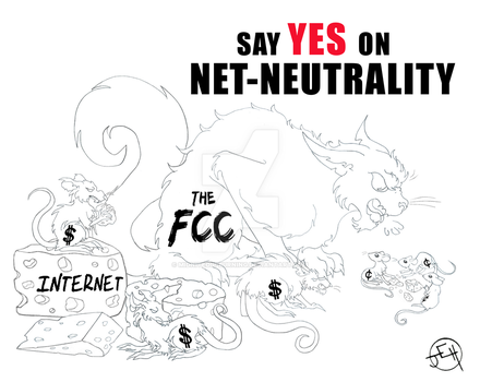 Pro Net-Neutrality (uncolored version) by Midniteoil-Burning