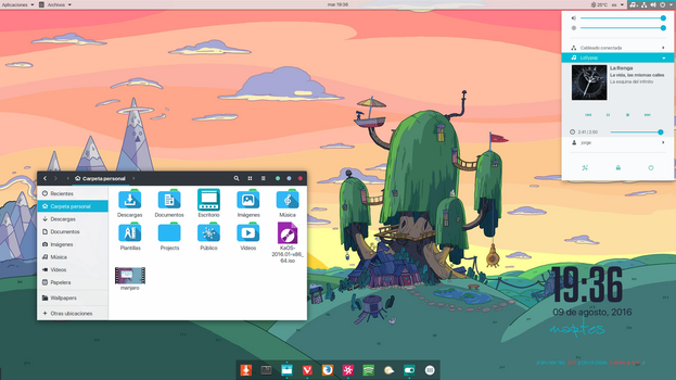 Manjaro Gnome 3.20 desktop, August by jomada74