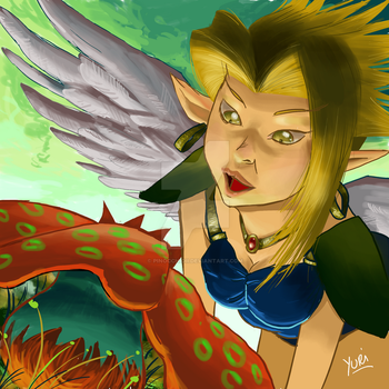 Elven Angel Goblin seeking mushrooms by PinocchioII