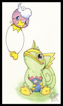 Drifloon and Kecleon by Frog-of-Rock