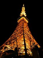 Tokyo Tower by night by TheNamelessLiberty