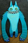 green doofy monster cut out by missmonster