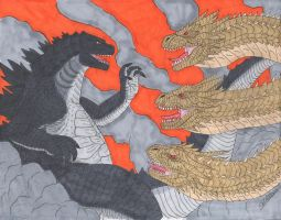 Godzilla vs King Ghidorah by cwpetesch