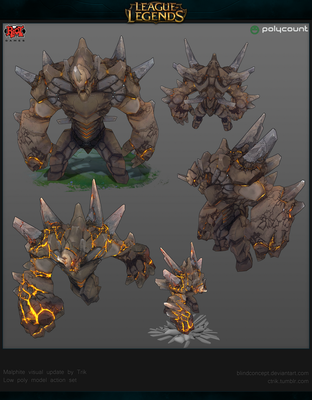 Malphite LowPoly Shots by Blindconcept