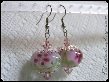 Spring Floral Glass Earrings by vibrantmelodydesigns
