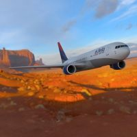 Boeing 767-300 Over a Canyon by VanishingPointInc