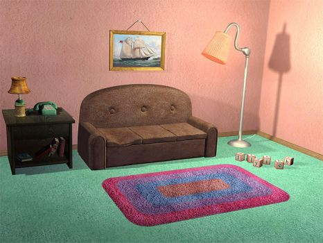 Simpsons TV-room by Ilyich