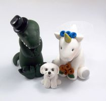 T Rex and Unicorn with Maltese Dog by HeartshapedCreations