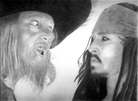 Jack and Barbossa by CountryMustangs