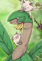 Tropius and the Mankeys - Pokemon by TheFresco