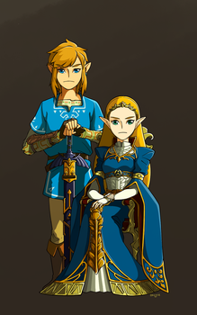 LoZ: BotW - Princess and her Knight by MangBean1031