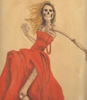skeleton in a red dress by bushbasher01