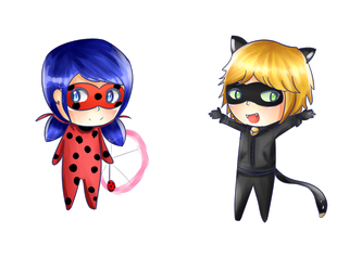 Chibi Bug and Noir by spyu98