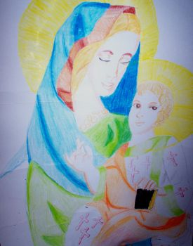 virgin mary and jesus by emsthedems