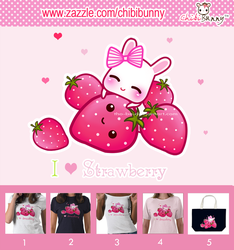 Cute bunny and kawaii strawberries T-shirts by tho-be
