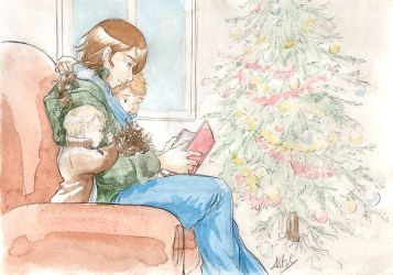Reading near the christmas tree by Atelierdereve