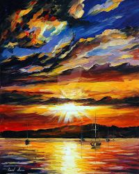 Flash Of The Sunset by Leonid Afremov by Leonidafremov