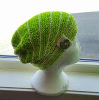 Neon green shortrow garterstitch hat by KnitLizzy
