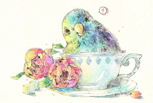 Parrot in the cup Watercolor by Zaozi-Nanaly