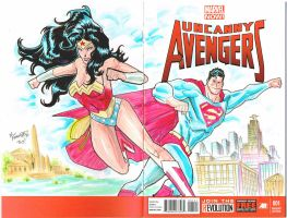 Wonder Woman Superman sketch cover by theFranchize