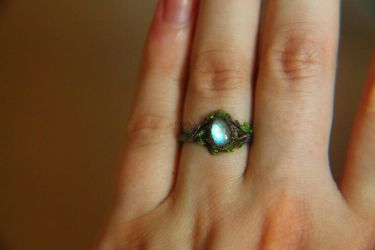 Rainbow moonstone polymer clay ring by Krinna