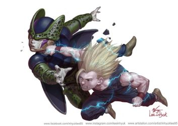 Songohan vs Cell junior by inhyuklee