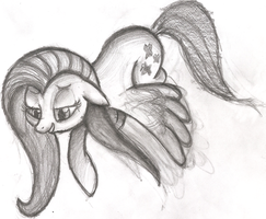Fluttershy - Freehand Hour Sketch by AncientOwl
