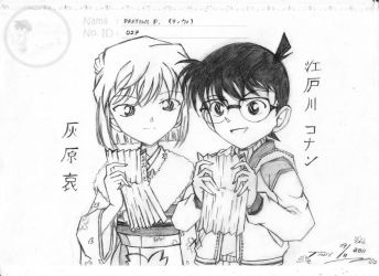 Ai Haibara and Conan Edogawa by nightformiya