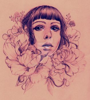 girl with flowers by almendrupa