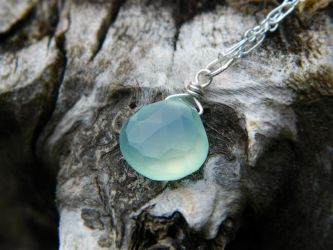 Pale Aqua Blue Chalcedony Pendant by QuintessentialArts