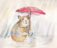 Hamster sketch 4- A Rainy Day by BlueBirdie