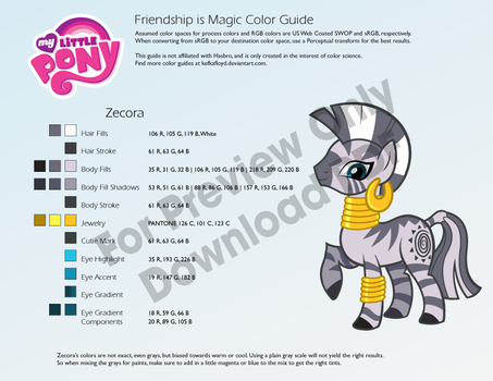 Zecora Color Guide by kefkafloyd