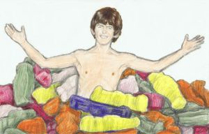 George Harrison in a pool of Jelly Babies by gagambo