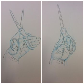 Hand Life Drawing - opening and closing scissors by Mia-Oneill
