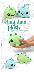 Tiny Dino Plush Sewing Pattern by SewDesuNe