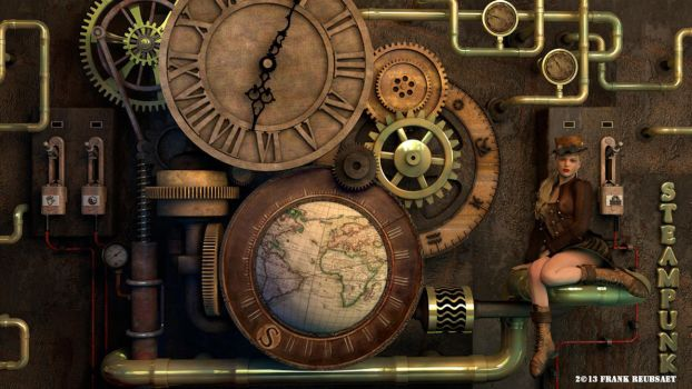 3D-Steampunk-clock by freuby