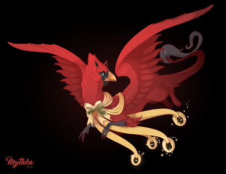 Dec 5 .Grand Cardinal Griffon. by Mythka