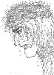 Jesus-The Passion (Line art) by ShenaniBOOM