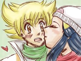 Hikari x Jun quick kiss by Frudoodles
