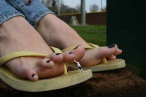 Holding Back Giantess Toes by youranus32
