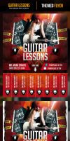 Guitar Lessons Flyer Template with Cutouts by odindesign