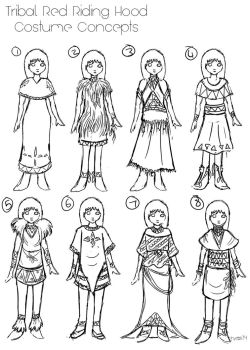Tribal Red Riding Hood- Constume Sketches by shimmeryshinystar