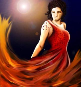 Katniss: Fire Dress Painting by Firesphere306