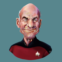 Patrick Stewart caricature  as Jean-Luc Picard by ugoyak