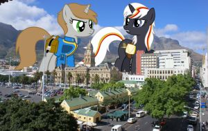 LittlePip and Velvet Remedy in a tiny city by TheOtterPony