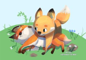 Original Art : Fox Siblings by VanessaFardoe