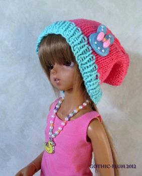 Super poofy knitted hat - Pink and aqua by Gothic-Flum